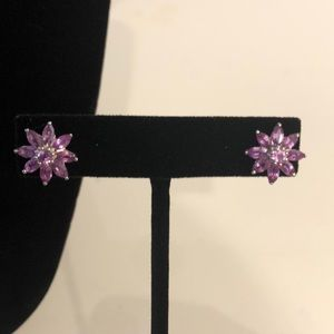 Madagascar Purple Sapphire Flower Earrings